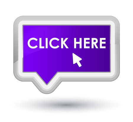 here: Click here purple banner button Stock Photo