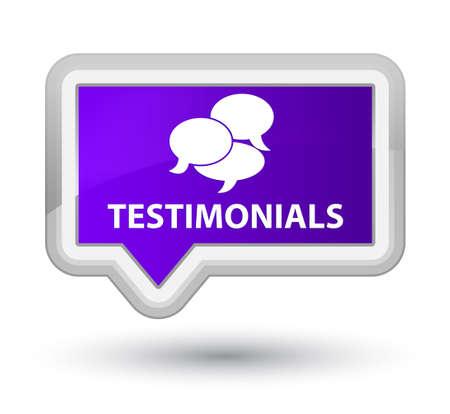 comments: Testimonials (comments icon) purple banner button Stock Photo