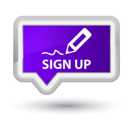sign up: Sign up purple banner button