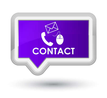 flysheet: Contact (phone, email and mouse icon) purple banner button Stock Photo