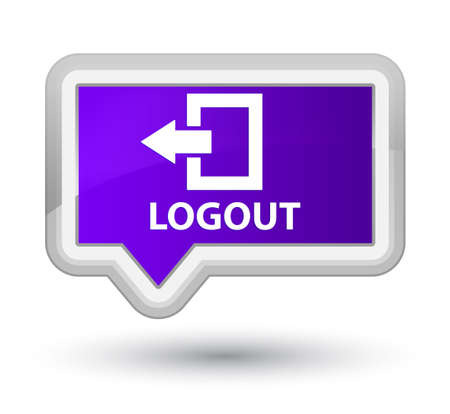 logout: Logout purple banner button Stock Photo