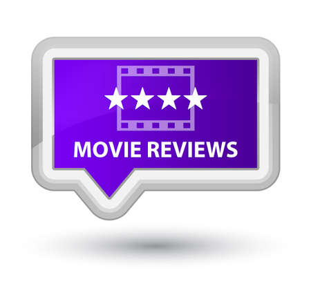 reviews: Movie reviews purple banner button Stock Photo