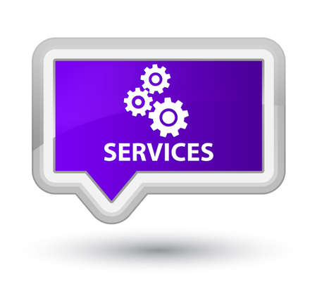 preference: Services (gears icon) purple banner button Stock Photo