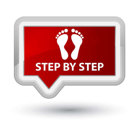 familiar: Step by step (footprint icon) red banner button