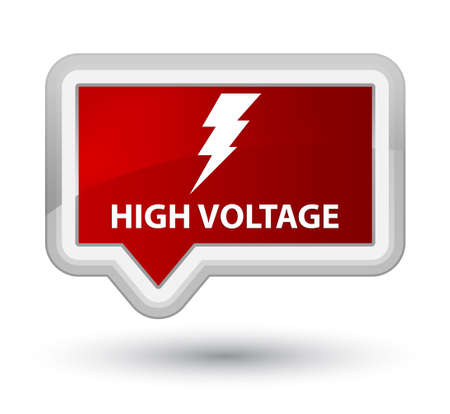 cautious: High voltage (electricity icon) red banner button