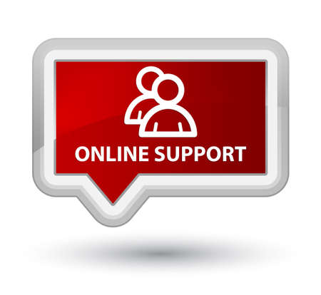 online support: Online support (group icon) red banner button Stock Photo