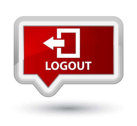close account: Logout red banner button Stock Photo