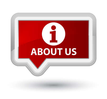 about us: About us red banner button Stock Photo