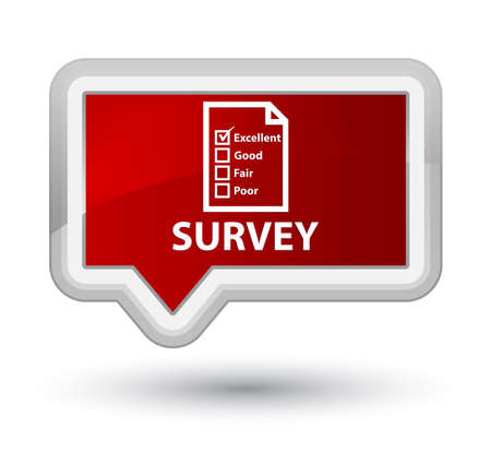 questionnaire: Survey (questionnaire icon) red banner button Stock Photo