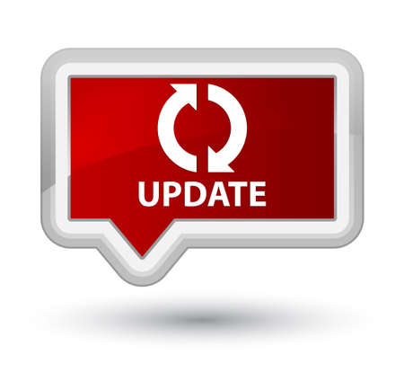 update: Update red banner button Stock Photo