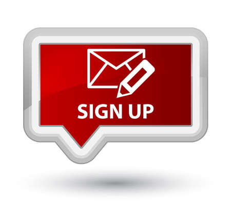 registry: Sign up (edit mail icon) red banner button Stock Photo
