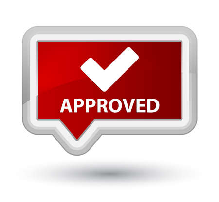 Approved (validate icon) red banner button Stock Photo