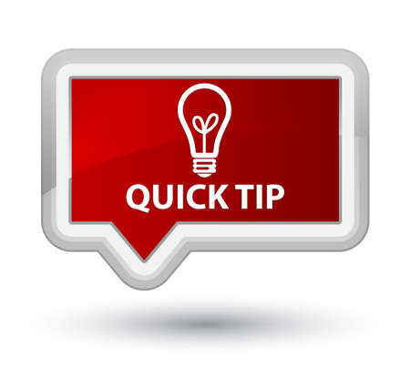 quick: Quick tip (bulb icon) red banner button Stock Photo