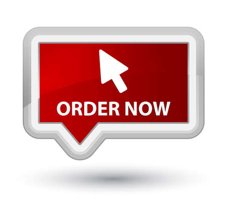 in order: Order now (cursor icon) red banner button Stock Photo
