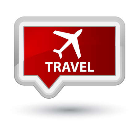 airway: Travel (plane icon) red banner button Stock Photo