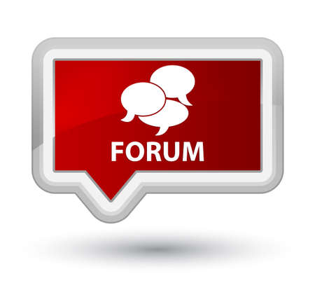 comments: Forum (comments icon) red banner button Stock Photo