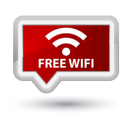 icon buttons: Free wifi red banner button Stock Photo