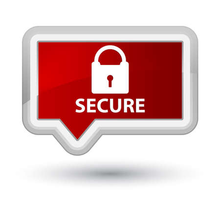 padlock icon: Secure (padlock icon) red banner button Stock Photo