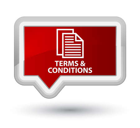 terms: Terms and conditions (pages icon) red banner button Stock Photo