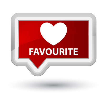 favourite: Favourite (heart icon) red banner button