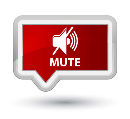 Mute red banner button Stock Photo