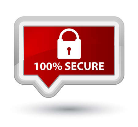 secure: 100% secure red banner button