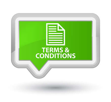 terms: Terms and conditions (page icon) soft green banner button Stock Photo