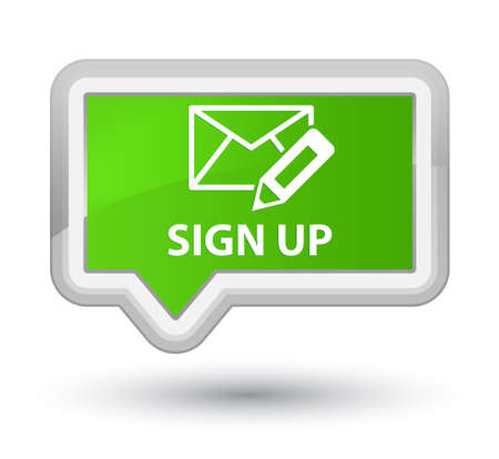 registry: Sign up (edit mail icon) soft green banner button Stock Photo