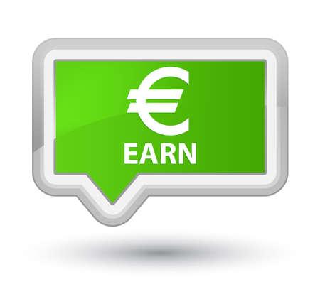 earn: Earn (euro sign) soft green banner button Stock Photo