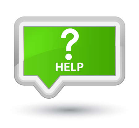 green issue: Help (question icon) soft green banner button Stock Photo