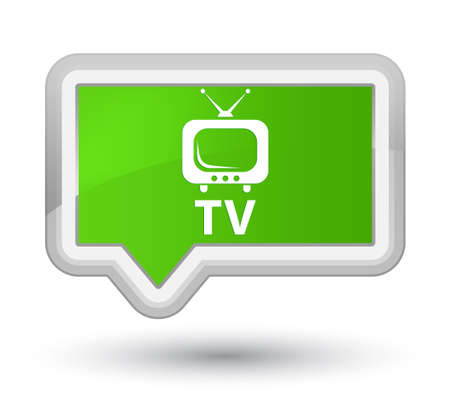 TV soft green banner button Stock Photo