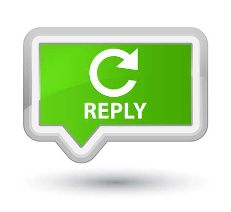 rotate: Reply (rotate arrow icon) soft green banner button Stock Photo