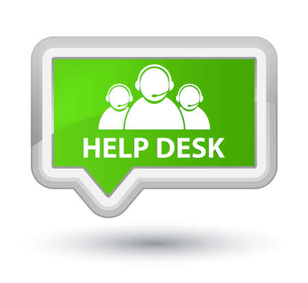 Help desk (customer care team icon) soft green banner button Stock Photo