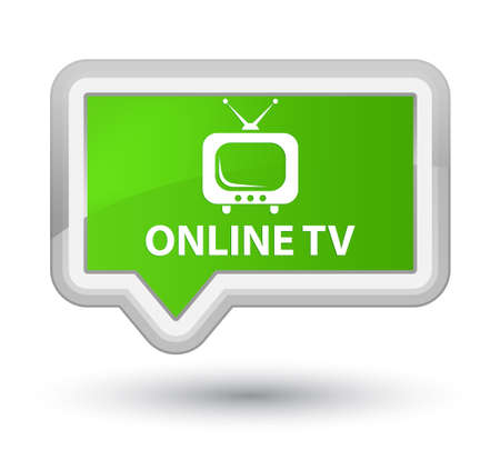 tv station: Online tv soft green banner button Stock Photo