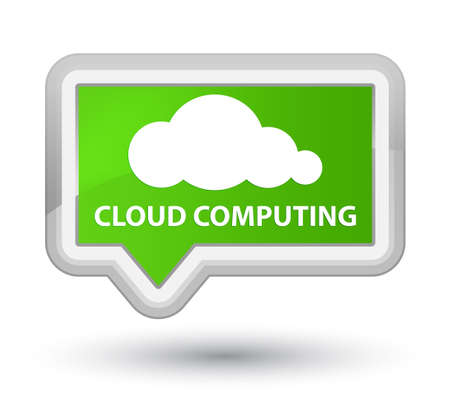 green computing: Cloud computing soft green banner button