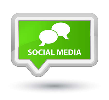 instant message: Social media (chat bubble icon) soft green banner button