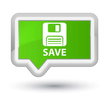 Floppy disk: Save (floppy disk icon) soft green banner button Stock Photo