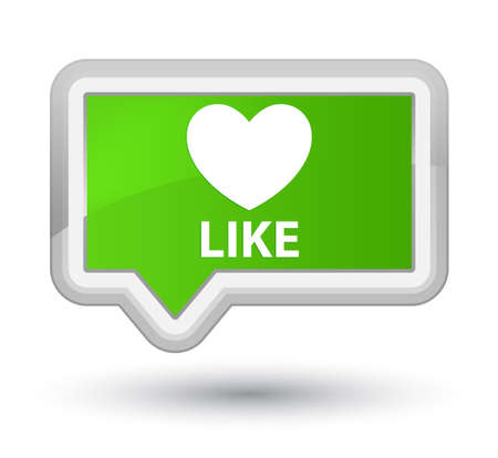 Like (heart icon) soft green banner button Stock Photo