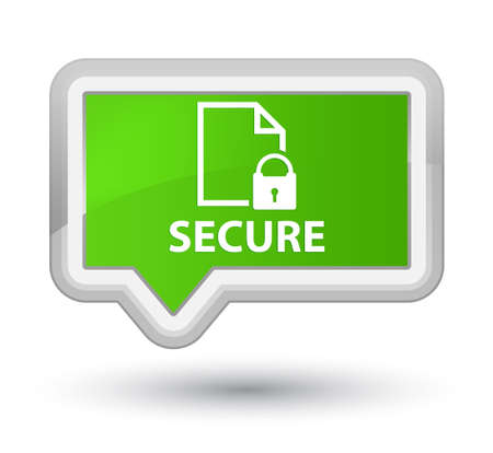 safeguard: Secure (document page padlock icon) soft green banner button