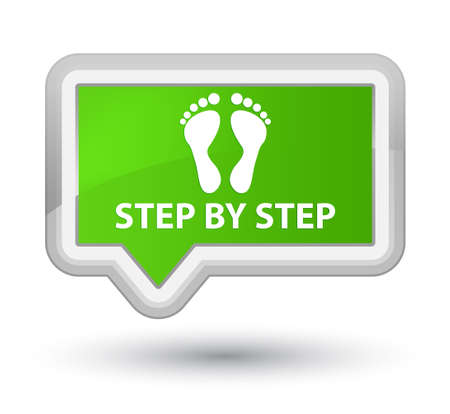 green footprint: Step by step (footprint icon) soft green banner button