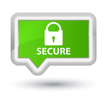 safeguarding: Secure (padlock icon) soft green banner button