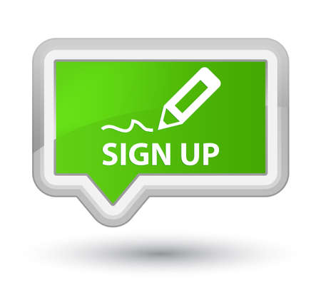 registry: Sign up soft green banner button Stock Photo