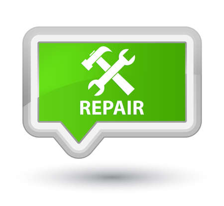 preference: Repair (tools icon) soft green banner button Stock Photo