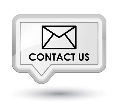 email contact: Contact us (email icon) white banner button Stock Photo