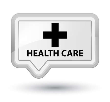 plus sign: Health care (plus sign) white banner button Stock Photo
