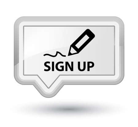 sign up: Sign up white banner button