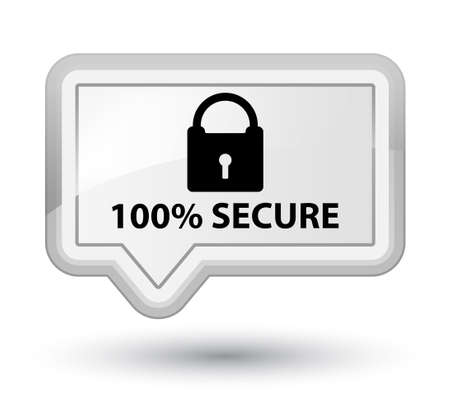 secure: 100% secure white banner button Stock Photo