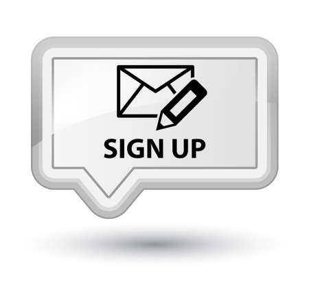 sign up: Sign up (edit mail icon) white banner button