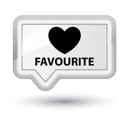 the favourite: Favourite (heart icon) white banner button Stock Photo