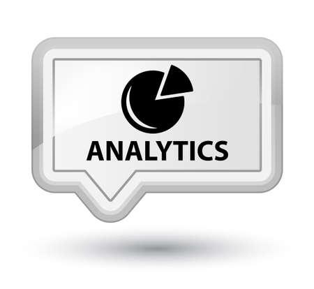stat: Analytics (graph icon) white banner button Stock Photo